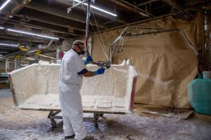 spraying fiberglass
